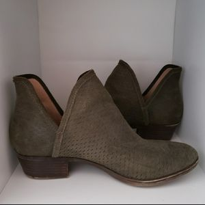 Lucky Sage Green Bailey Suede Open Sided Booties